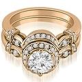 1.27 cttw. 14K Rose Gold Antique Round Cut Diamond Engagement Set - Thumbnail 0