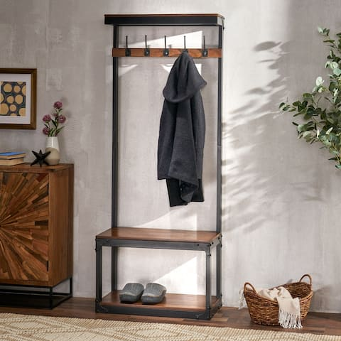 Willards Indoor Mango Wood Handcrafted Coat Rack with Bench by Christopher Knight Home