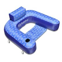 "35"" Inflatable Blue and Light Blue Swimming Pool Loop Lounger Chair"