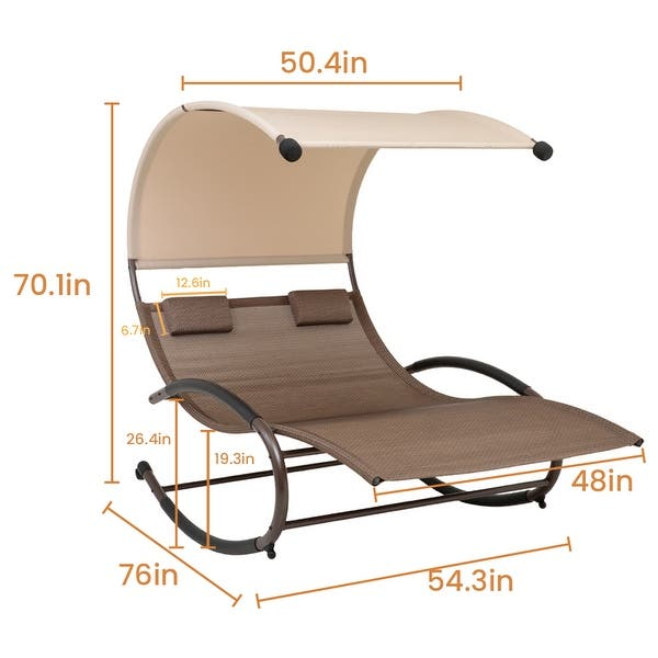 Tommy Bahama Outdoor Cushions, Shop Outdoor Double Chaise Lounge Chair Rocking Lounger With Canopy 54 3 76 0 70 1 Inches On Sale Overstock 31684955