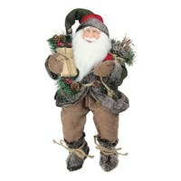 "16"" Country Rustic Sitting Santa Claus Christmas Figure with Knitted Snowflake Jacket - RED"