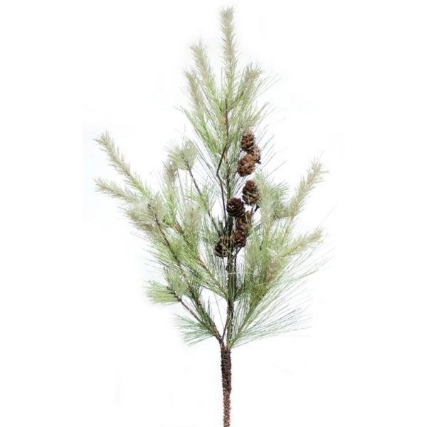 Pack of 6 Green and Brown Iced Mixed Pine Christmas Spray with Pine Cones 32""