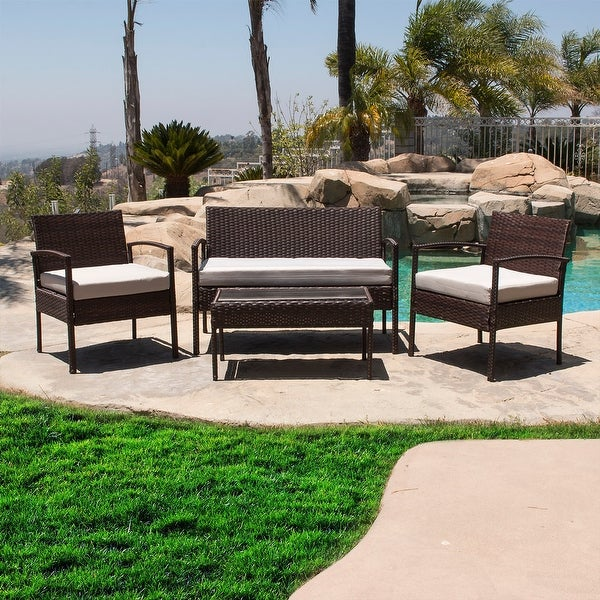BELLEZE 4 Piece Patio Outdoor Rattan Patio Set 4 PC Furniture Outdoor Set  Two Chairs One - Shop BELLEZE 4 Piece Patio Outdoor Rattan Patio Set 4 PC Furniture