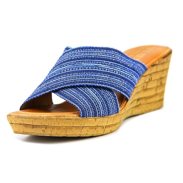 Italian Shoe Makers Everly Women Open Toe Canvas Blue Wedge Sandal
