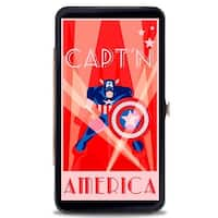 Marvel Comics Art Deco Captain America Standing Pose Rays Stars Reds White Hinge Wallet - One Size Fits most