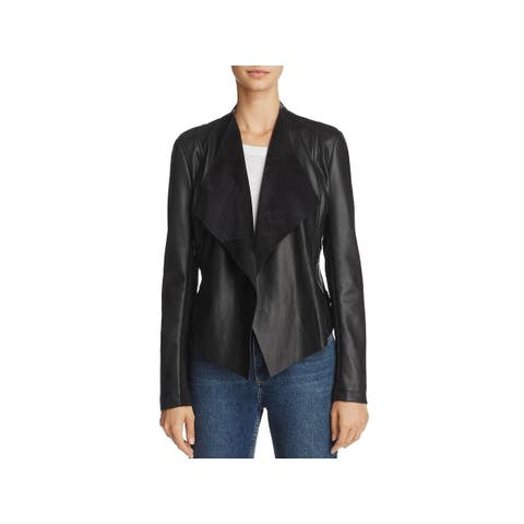 French Connection Womens Stephanie Blazer Faux-Leather Open Front
