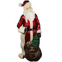 "48"" Commercial Size Santa Claus with List and Gift Sack Christmas Display Decoration - Red"