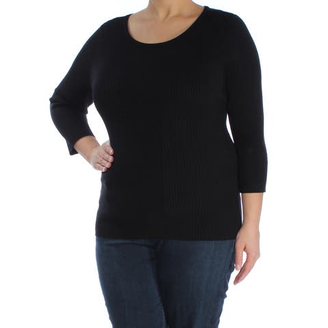 INC Womens Black 3/4 Sleeve Scoop Neck T-Shirt Sweater Size: XL