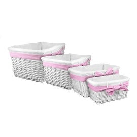 Lukasian House White Willow Baskets with Pink Ribbon, Set of 4
