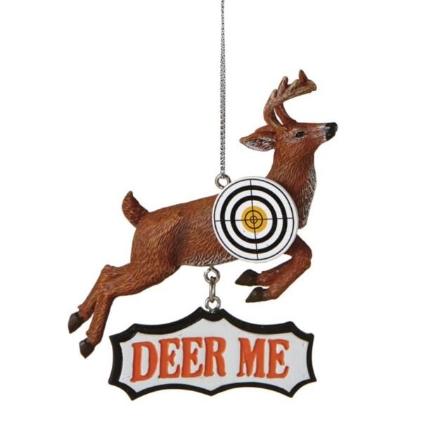 """4"""" Hunting """"Deer Me"""" Bulls Eye Shooting Christmas Ornament"""