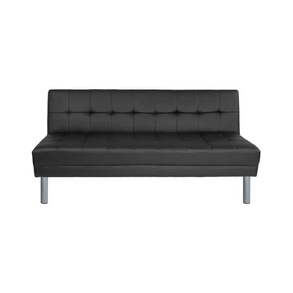 Black Leather Convertible Futon Sofa