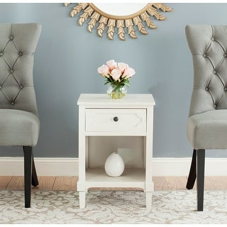 """Link to SAFAVIEH Rosaleen White Storage Side Table - 16.9"""" x 15"""" x 24"""" Similar Items in Living Room Furniture"""