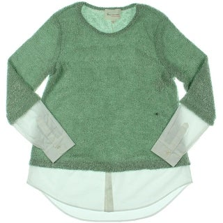 Two by Vince Camuto Womens Knit Contrast Trim Pullover Sweater - M