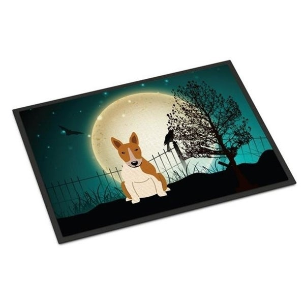 Carolines Treasures BB2325MAT Halloween Scary Bull Terrier Red White Indoor or Outdoor Mat 18 x 0.25 x 27 in.