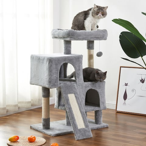 Merax Cat Tree Apartment with Grab Board, Plush Double Room - Gray