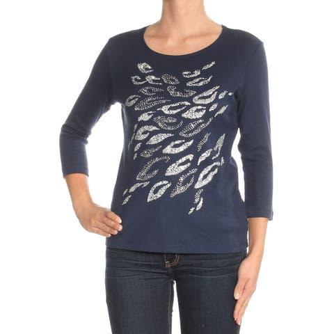 KAREN SCOTT Womens Navy Beaded Printed 3/4 Sleeve Jewel Neck Top Size: XS