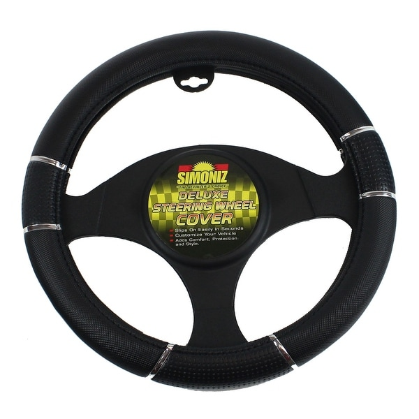Simoniz Deluxe Steering Wheel Cover Triple Grip, Black