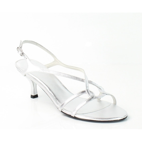 Stuart Weitzman NEW Silver Shoes 9.5W Slingbacks Leather Sandals