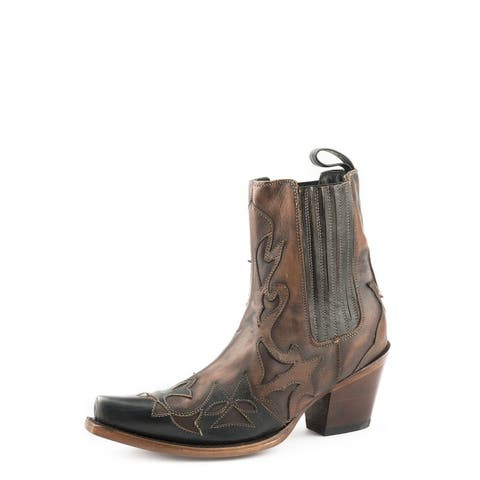 "Stetson Fashion Boots Womens Cici Inlays 7"" Brown"
