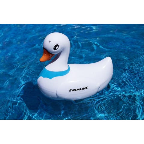 """8.75"""" White and Blue RC Battery Operated Swan Swimming Pool Toy"""