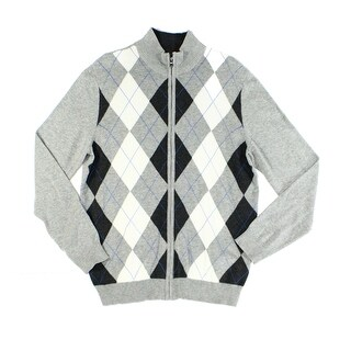 Club Room NEW Gray Heather Mens Size Large L Full Zip Argyle Sweater