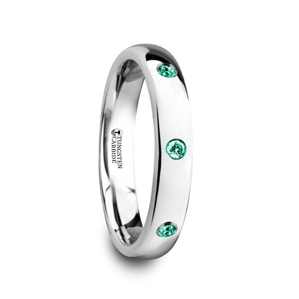 THORSTEN - CHLOE Polished and Domed Tungsten Carbide Wedding Ring with 3 Green Emeralds Setting - 4mm