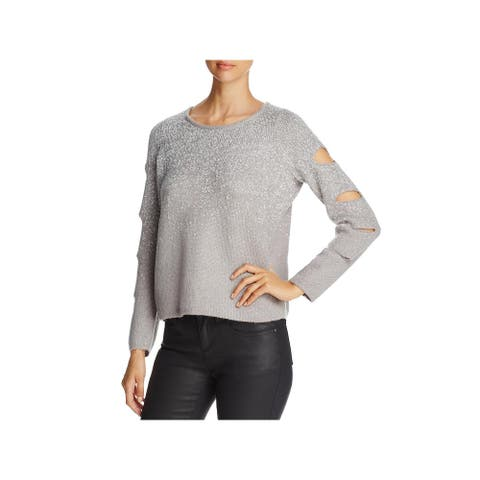 Design History Womens Pullover Sweater Metallic Cut-Out - Gravel Combo