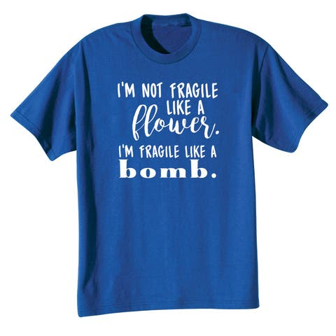 WHAT ON EARTH Women's Fragile Like a Bomb T-Shirt Top - Funny Royal Blue Tee