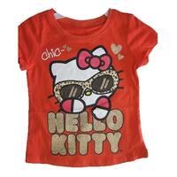 Hello Kitty Little Girls Red Glitter Letters Leopard Spot T-Shirt 4-6X
