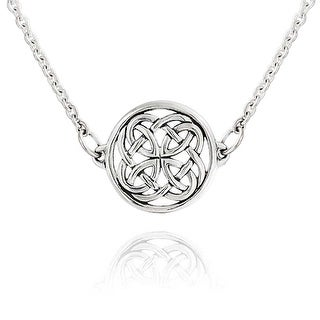 Large Round Irish Celtic Love Knot Pendant Necklace For Women For Teen 925 Sterling Silver 18 Inch