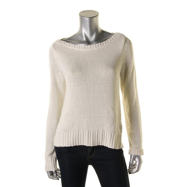 New $100 RALPH LAUREN Womens XL Rib-Trim Boatneck Sweater Long-Sleeve Pullover