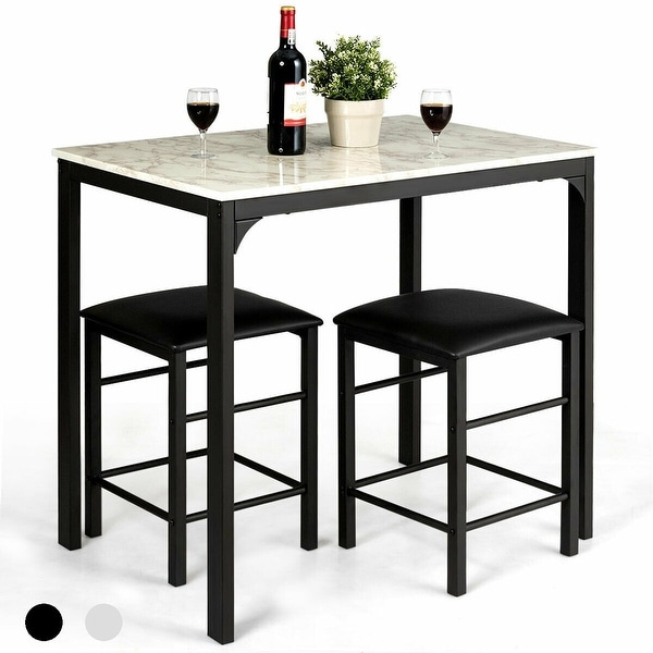 3 Piece Counter Height Dining Set Faux Marble Table 2 Chairs Kitchen. Opens flyout.