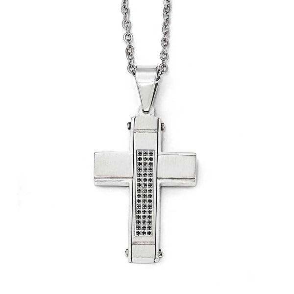 Chisel Stainless Steel Brushed and Polished with Black CZ Cross Necklace - 24 in