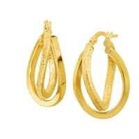 Eternity Gold Textured Double-Oval Hoop Earrings in 14K Gold - YELLOW