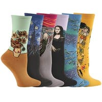 Women's Colorful Fine Art Socks - Da Vinci, Munch, Van Gogh, and Klimt - Set of 6 Pairs - Medium
