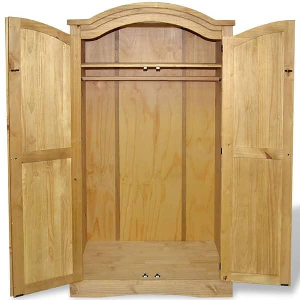 Corona 2 Door Wardrobe Distressed Waxed Pine Solid Pine Bedroom Mexican Wooden