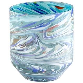 "Cyan Design 09514  Wanaka 6-1/2"" Diameter Glass Vase - Jade Mosaic"