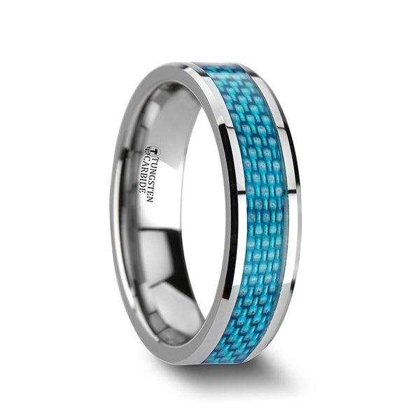 THORSTEN - AUGUSTUS Blue Carbon Fiber Inlay Tungsten Carbide Band - 6mm