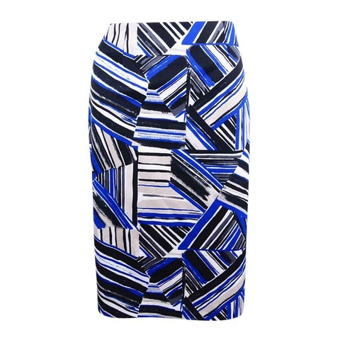 Kasper Women's Abstract-Print Pencil Skirt - cobalt multi