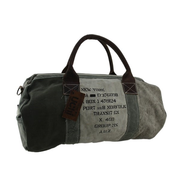 5830e76bf14c Shop Green Recycled Canvas and Leather Vintage Military Style Duffel ...