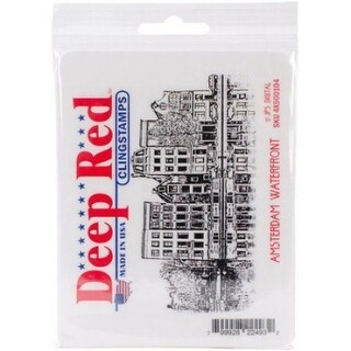 Deep Red Stamps Amsterdam Waterfront Rubber Cling Stamp - 4 x 2.5