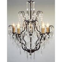 Swarovski Trimmed Wrought Iron & Crystal ChandelierIncludes Swag Plug In Chandelier Lighting Kit