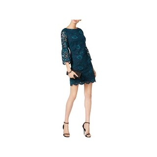 Jessica Howard Womens Petites Cocktail Dress Bell Sleeves Colorblock