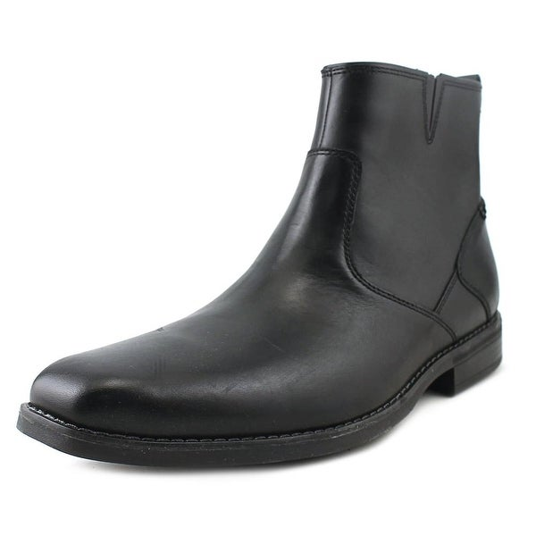 Rockport Traviss Zip Boot Men Square Toe Leather Black Boot