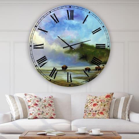 Designart 'Yellowstone Buffalo Landscape' Large Lake House Wall Clock