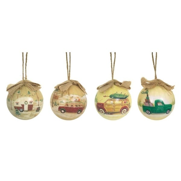 "Set of 12 Rustic Bear Family Vintage Style Christmas Camping Ball Ornaments 3"" - brown"