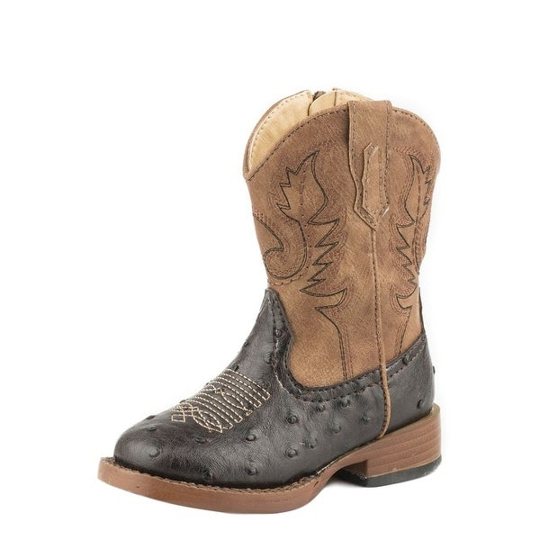 0e4939d305e Shop Roper Western Boots Boys Cowboy Cool Ostrich Brown - Free Shipping  Today - Overstock - 15382228