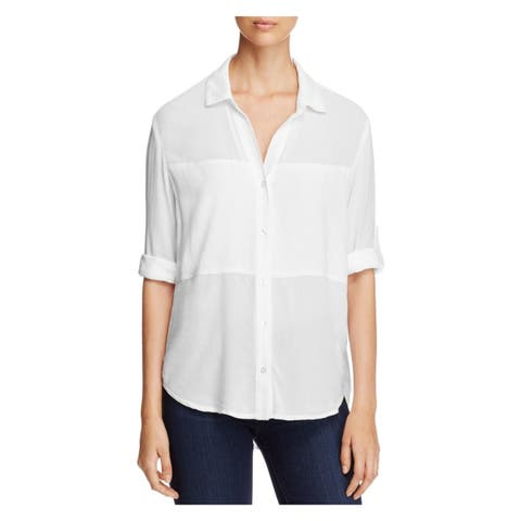 Side Stitch Womens Button-Down Top Sheer Long Sleeves
