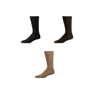 Gold Toe Men's Fluffies Cotton Crew Socks (Pack of 3) - Khaki - One Size