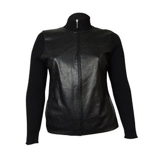 Charter Club Women's Faux Leather Front Knit Zip Jacket - Deep Black